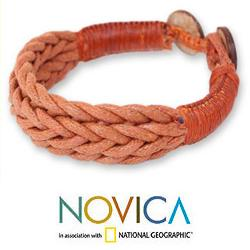 Coconut Shell and Cotton 'Chiang Rai Brown' Bracelet (Thailand) - Thumbnail 1