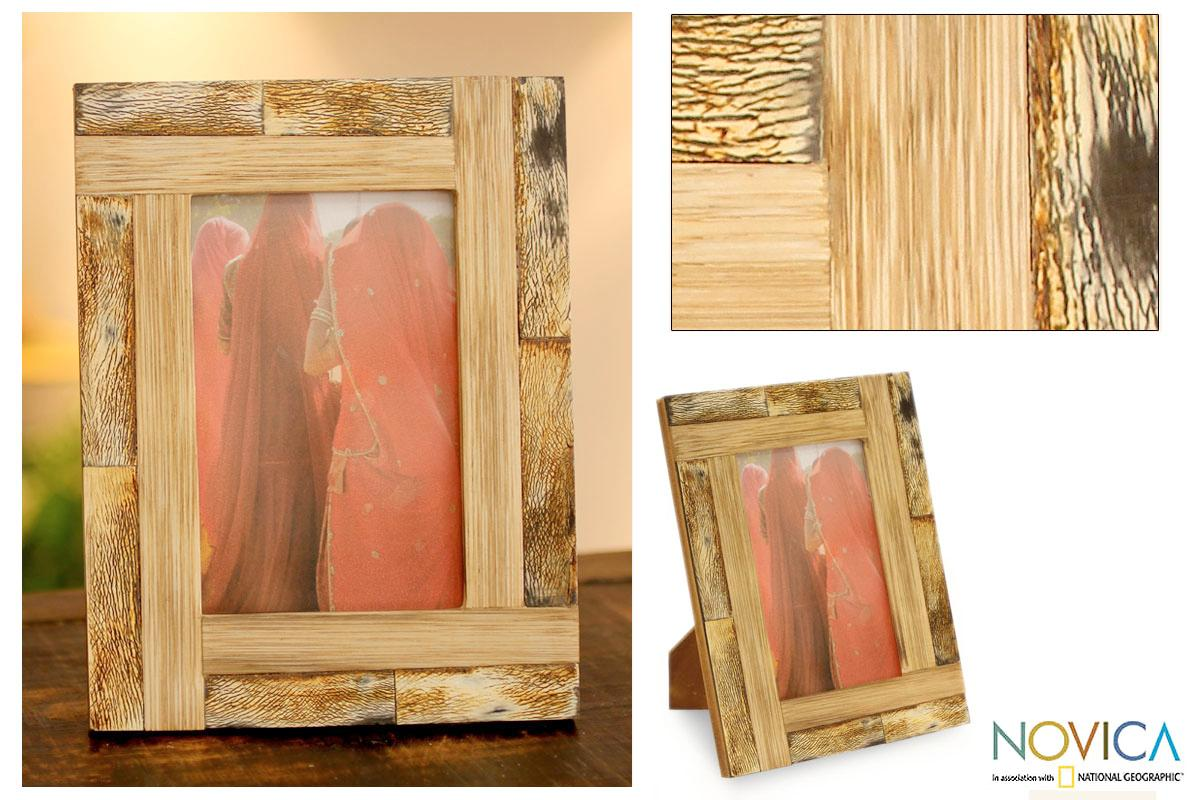 Handcrafted Bamboo 'Earth Sigh' Photo Frame (India)