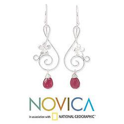 Sterling Silver 'Music Blossoms' Ruby Earrings (Thailand)