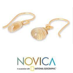 Gold Overlay 'Sublime Elegance' Rutile Quartz Earrings (Thailand)