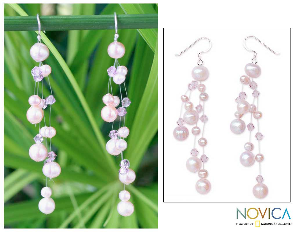 Sterling Silver 'Charming in Lilac' Pearl Earrings (5-9 mm) (Thailand) - Thumbnail 0
