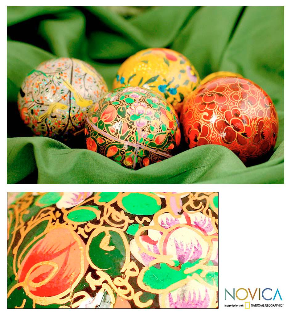 Set of 4 Handcrafted Paper 'Joyful Melody' Large Ornaments (India)