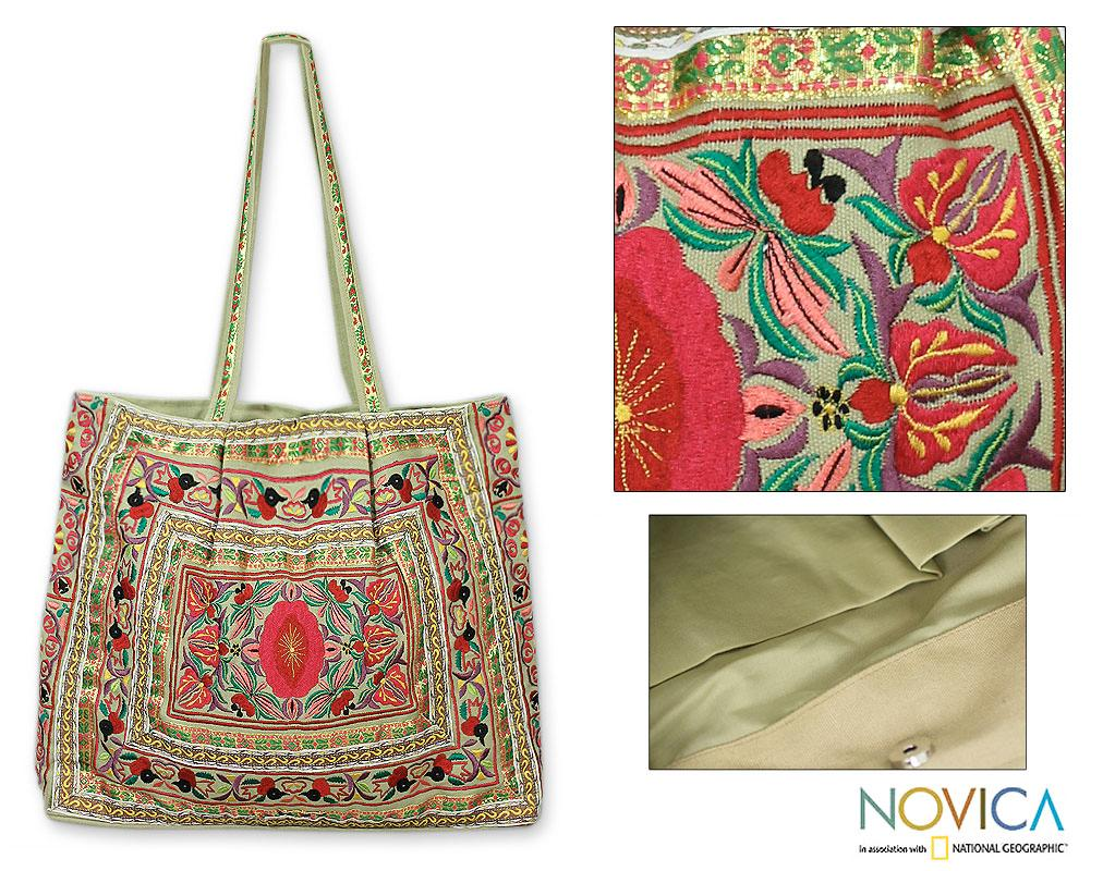 Handcrafted Cotton 'Colors of India' Large Tote Handbag (India)