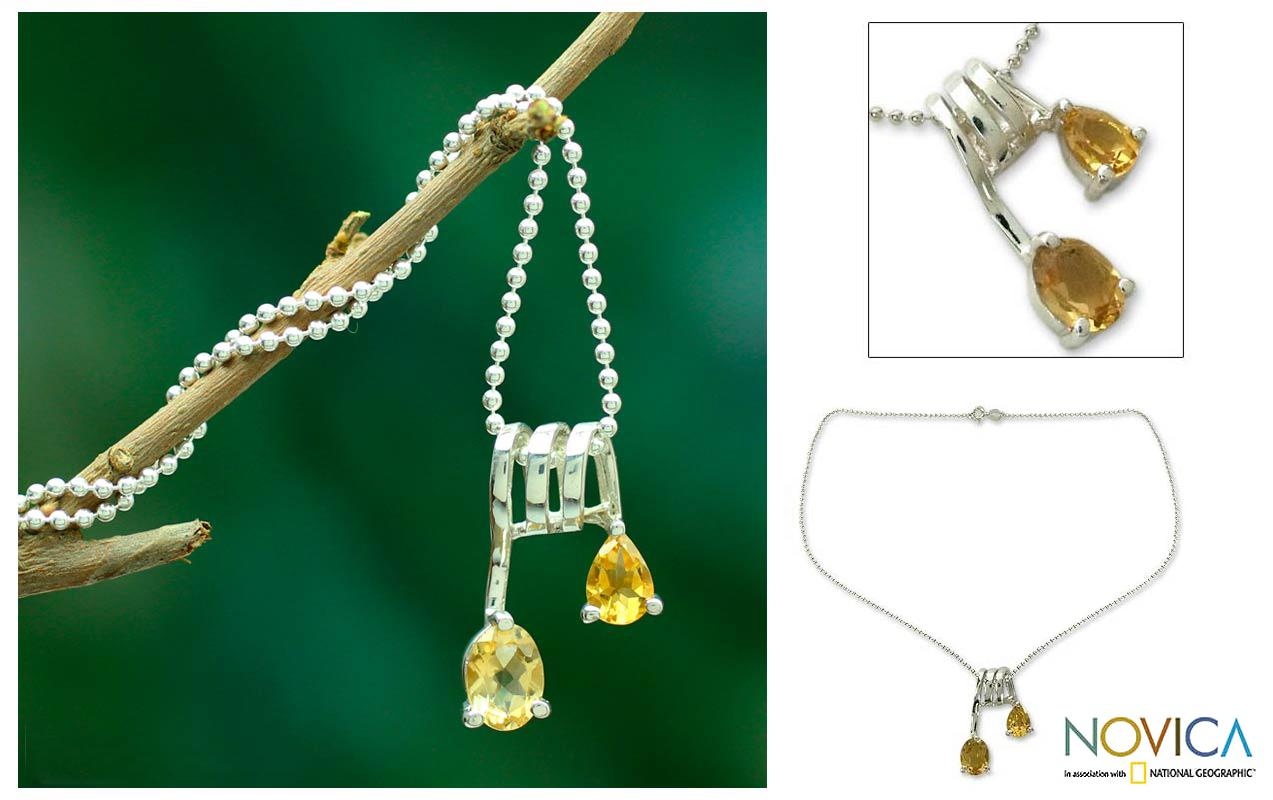 Sterling Silver 'Hypnotic Fantasy' Citrine Necklace (India)