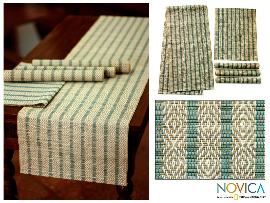 Handmade Set for 4 Sea Grass 'Ethnic Blue' Table Runner and Placemats (Bali)