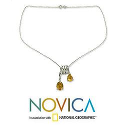 Sterling Silver 'Hypnotic Fantasy' Citrine Necklace (India) - Thumbnail 1