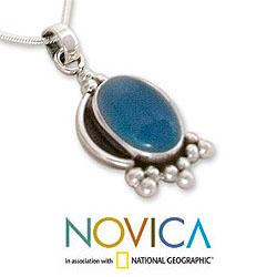 Sterling Silver 'Sky Charm' Chalcedony Necklace (India) - Thumbnail 2