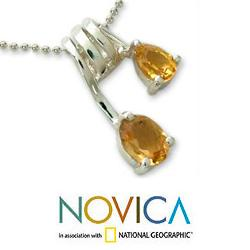 Sterling Silver 'Hypnotic Fantasy' Citrine Necklace (India) - Thumbnail 2