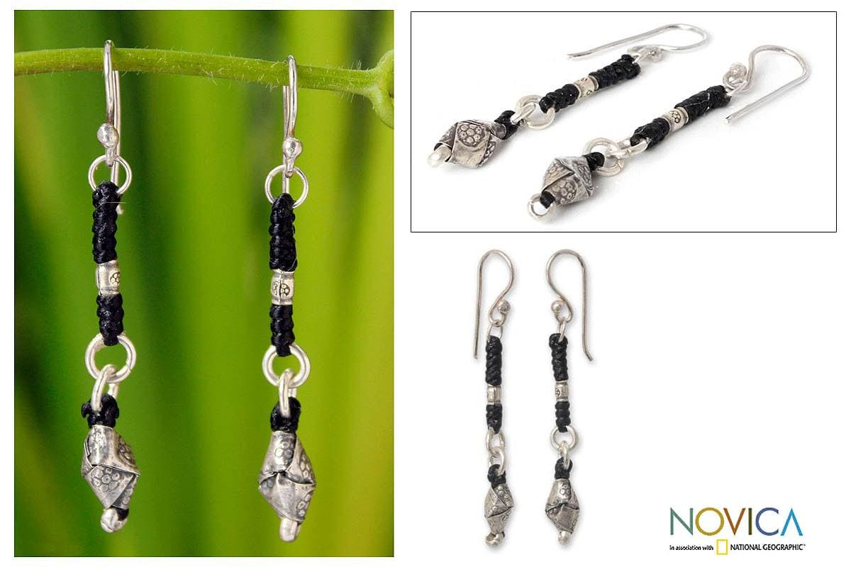 Silver Handcrafted 'Tribal Knots' Dangle Earrings (Thailand)