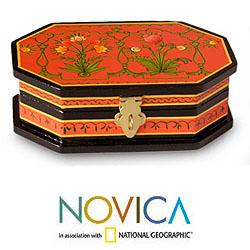 Handcrafted Wood 'Tangerine Blossoms' Decorative Box (India)