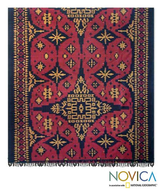 Cotton  'Starlight on Red' Wall Hanging (Indonesia)