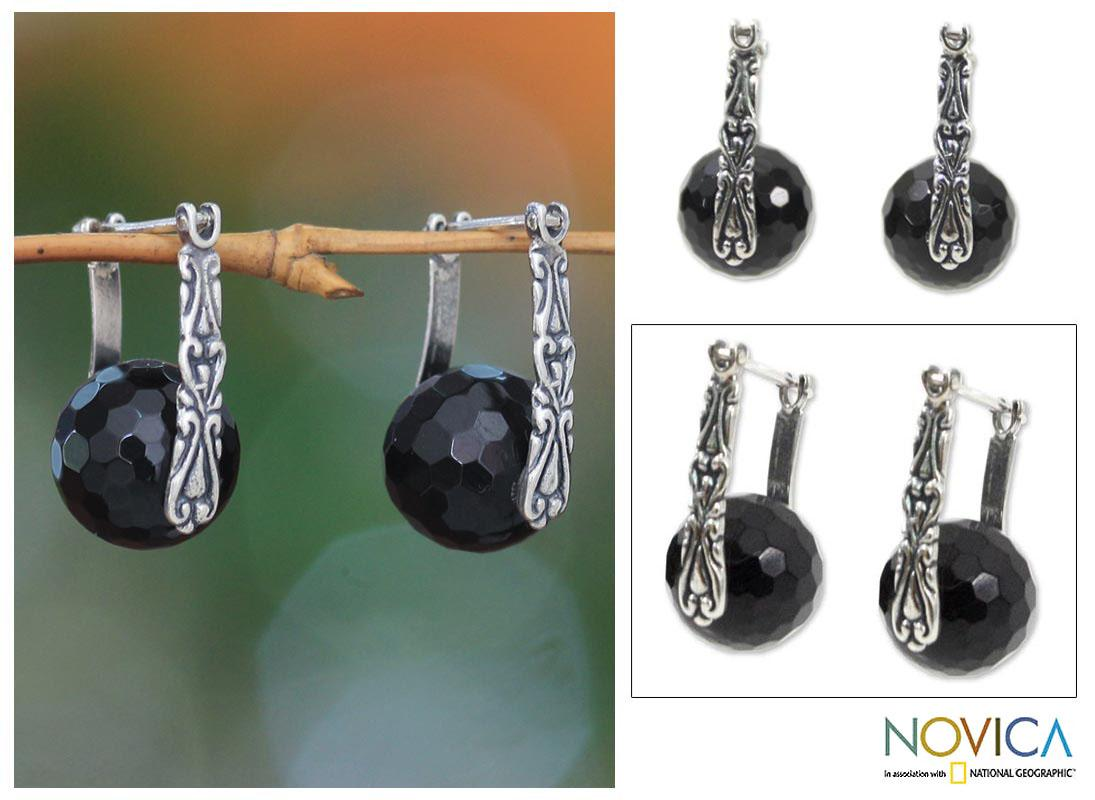 Sterling Silver 'Black Moon over Bali' Onyx Earrings (Indonesia)