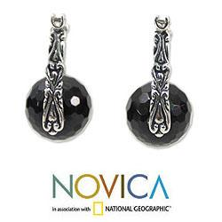 Sterling Silver 'Black Moon over Bali' Onyx Earrings (Indonesia) - Thumbnail 1