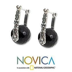 Sterling Silver 'Black Moon over Bali' Onyx Earrings (Indonesia) - Thumbnail 2