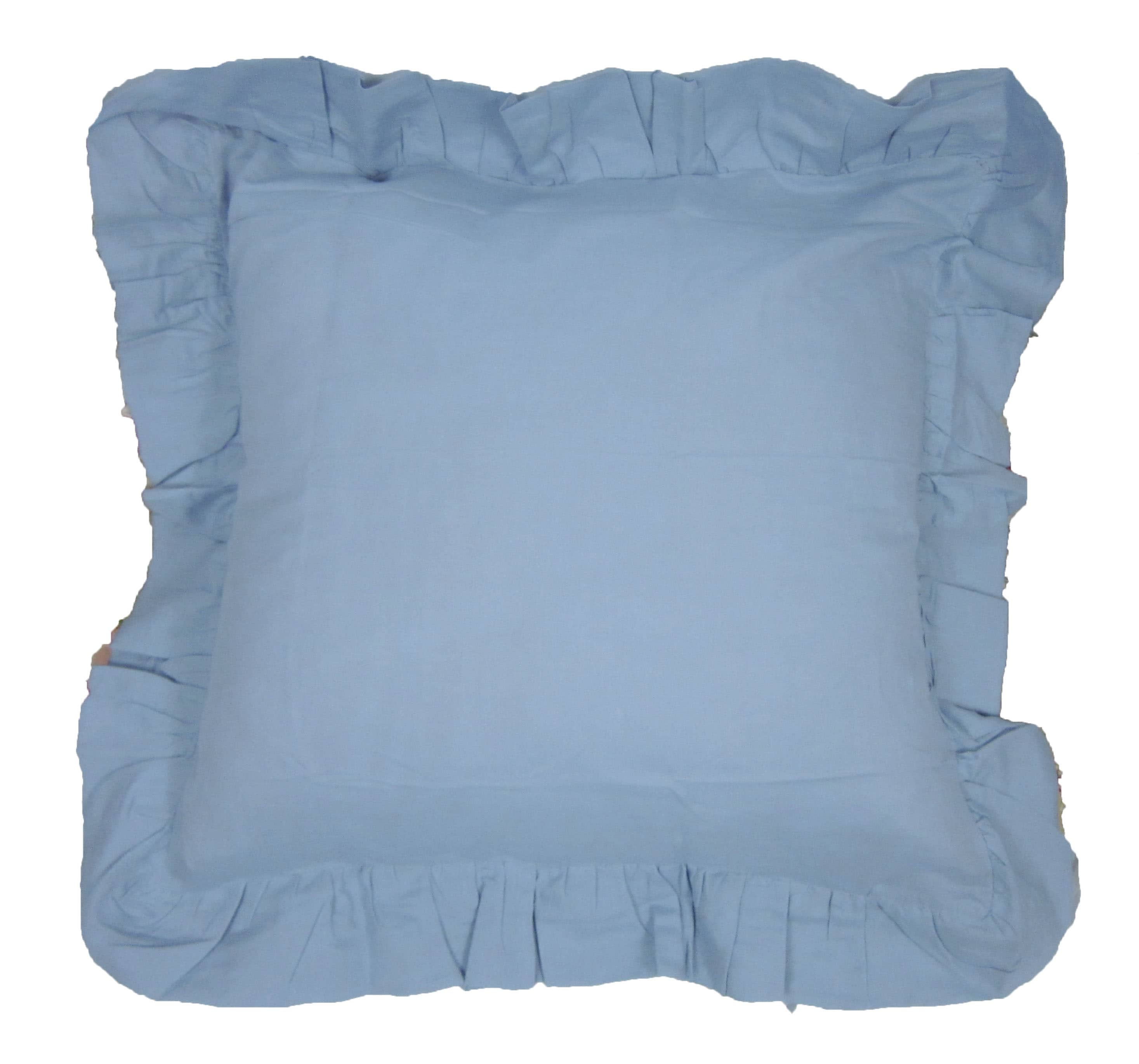Light Blue Linen Ruffled Euro Sham