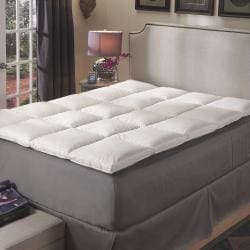Premier Natural White Feather Baffle Box Featherbed Cover Set