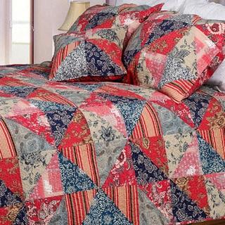 Red Rose Garden King-size 3-piece Quilt Set