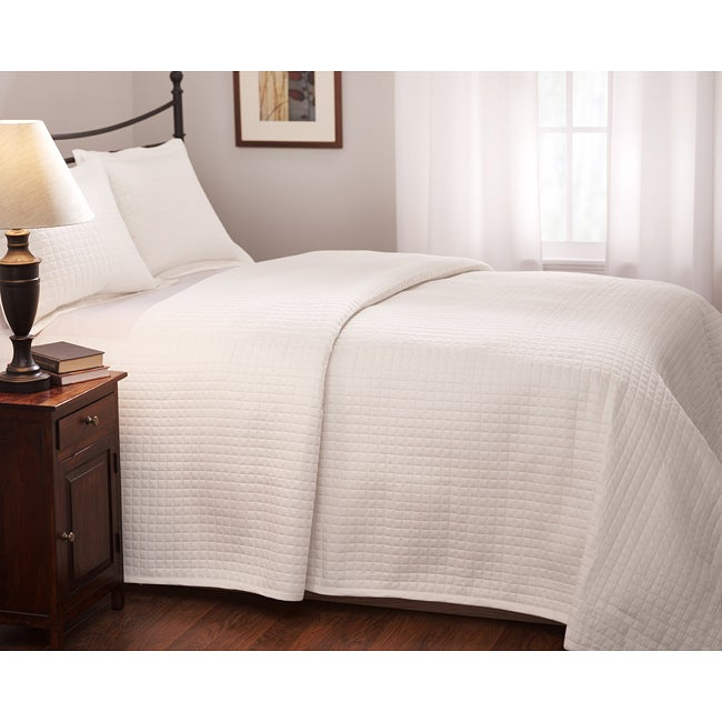 Roxbury Park Quilted King Size White Coverlet Free