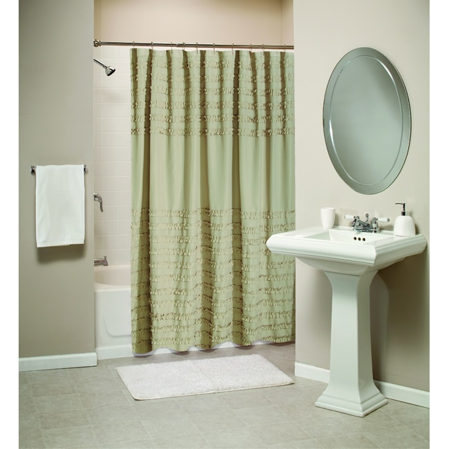 Greenland Home Fashions Ruffled Linen Shower Curtain