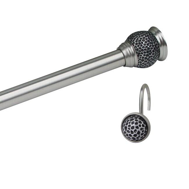 Safari Satin Nickel Rod and Hook Set by Elegant Home Fashions