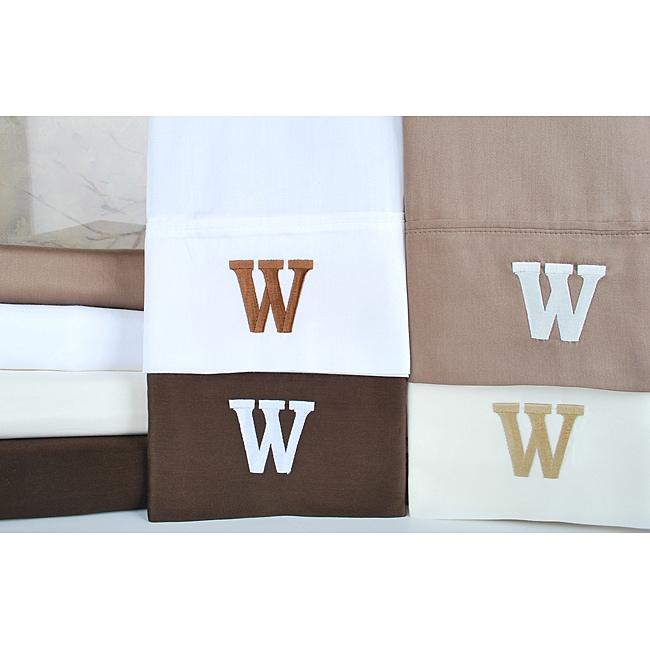 Egyptian Cotton 300 Thread Count Solid Block 'W' Monogram Sheet Set