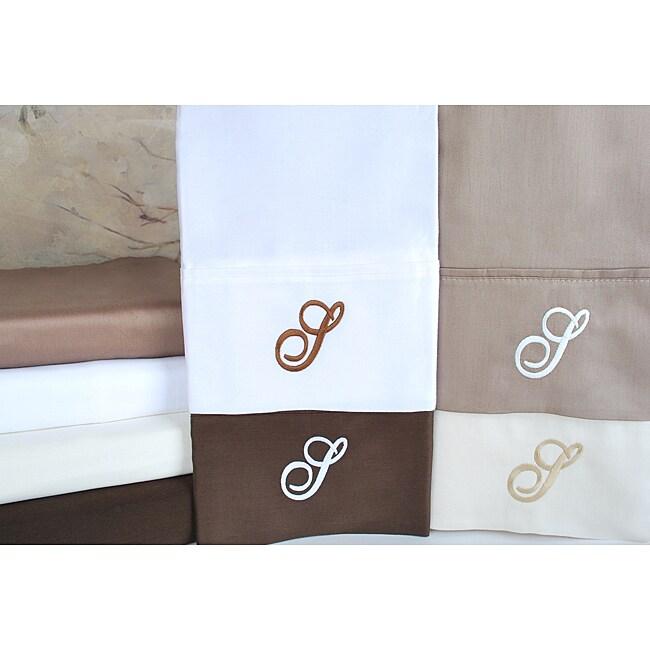 Egyptian Cotton 300 Thread Count Solid Script 'S' Monogram Sheet Set