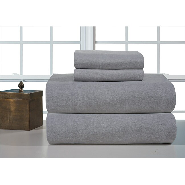 Heather Grey Heavyweight Flannel Sheet Set