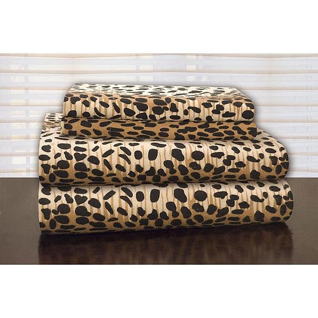 Pointehaven Cheetah Print Flannel Sheet Set