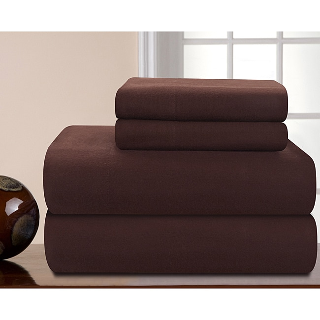 Pointehaven Solid Chocolate Heavy Weight Flannel Sheet Set - Thumbnail 0