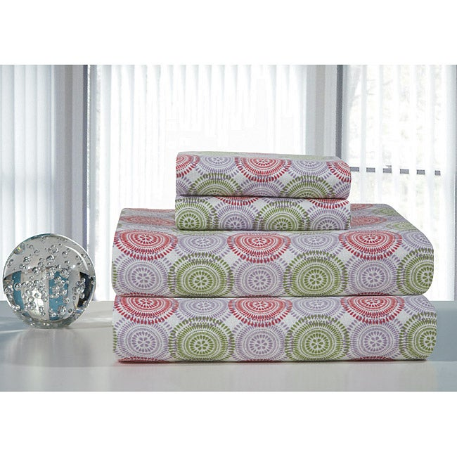 Starburst Printed Flannel Sheet Set