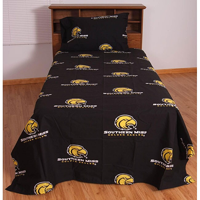 University of Southern Mississippi Golden Eagles Black Sheet Set - Thumbnail 0