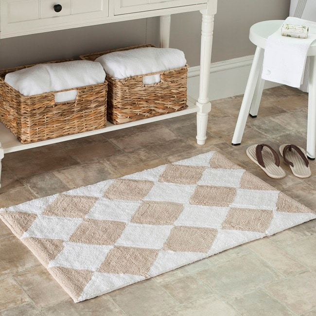 Safavieh Spa 2400 Gram Harlequin Cream/ Beige Gram 27 x 45 Bath Rug (Set of 2)