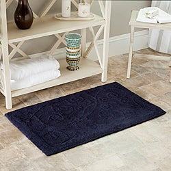 "Safavieh Spa 2400 Gram Scrolls Navy 27 x 45 Bath Rug (Set of 2) - 27"" x 45"""