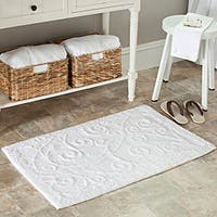 Safavieh Spa 2400 Gram Scrolls White Gram 27 x 45 Bath Rug (Set of 2) - 27 x 45