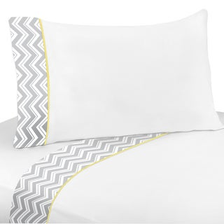 Sweet JoJo Designs 200 Thread Count Yellow and Grey Zig Zag Sheet Set