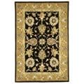 Safavieh Handmade Tabriz Black/ Gold Wool and Silk Rug - 5' x 8'
