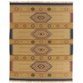 Flat-woven Tahoe Light Gold Wool Rug (9' x 12')