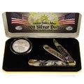 Hen and Rooster 2003 Silver Dollar and 4 1/8-inch Knife