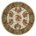 Safavieh Handmade Tabriz Ivory/ Sage Wool and Silk Rug (6' Round) - 6'