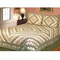 Country Diamond Patchwork Cotton 3-piece Bedspread Set