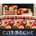 City Scene Retro Radar Camel/ Red Pillow Set