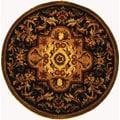 "Safavieh Handmade Classic Royal Black/ Beige Wool Rug - 3'6"" x 3'6"" round"