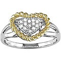 14k Two-tone Gold 1/10ct TDW Diamond Heart Rope Ring (H-I-J, I1-2)