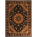 Safavieh Handmade Tabriz Black/ Burgundy Wool and Silk Rug - 6' x 9'