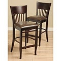 Vera Leather and Wood Bar Chairs (Set of 2)