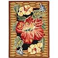 Safavieh Hand-hooked Floral Black Wool Rug (1'8 x 2'6)