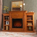 Peyton Oak Electric Fireplace with Bookcase