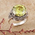Sterling Silver Marcasite and Round-cut Yellow CZ Ring (Thailand)