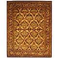 Safavieh Handmade Kerman Wine/ Gold Wool Rug - 7'6 x 9'6