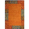 Safavieh Handmade Rodeo Drive Autumn Border Red/ Blue Wool Rug - 7'6' x 9'6'